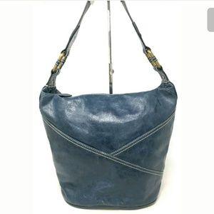Wilson's Leather Stitched Blue Hobo Handbag